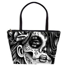 Pretty Day of the Dead Sugar Skull Girl Large Purse Shoulder Bag Black and White