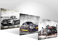 3x Bilder Mercedes Benz Auto Bilder auf Leinwand Kunst Wandbild Abstrakt 1165A