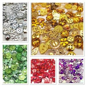 100 Mix Acrylic & Resin Buttons & Flatbacks Cardmaking Embellishments 10 Colours