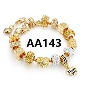 Love Heart Metal & Rhinestones Gold European Charms Beaded Chain Bracelet
