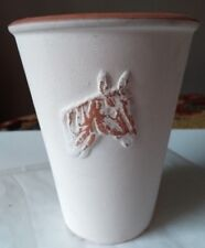 Chabby chic cream small ceramic decorative container with three raised motifs