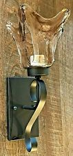 oil rubbed bronze wall iron scroll sconce 1 light amber hand blown glass