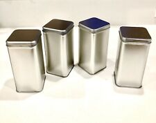 New listing 4 Matching Square Metal Tin Boxes + Lids