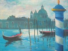 """Listed American Artist Nino Pippa Painting of Venice The Grand Canal COA18"""" X24"""""""