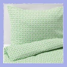 Ikea Rodved Twin Duvet Cover&Pillowcase Set Green White Mod Bead ShipDiscnt New!