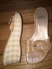 STUART WEITZMAN Caramel Slip On Faux Croc Woven Wedge High Heels Sandals EUC
