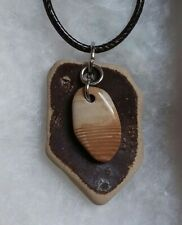 Beach washed Tile Pendant Necklace Michigan Lake Huron Banded Chert with Vintage