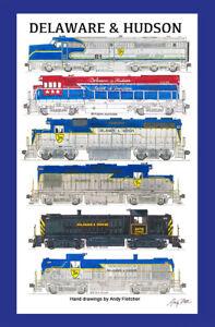 "Delaware & Hudson Locomotives 11""x17"" Poster in 12""x18"" mat Andy Fletcher signed"
