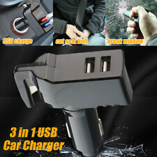 3 in 1 USB Car Charger Seat Belt Cutter Emergency Hammer Glass Window Breaker