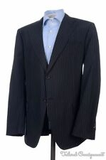 BAMFORD & SONS Dark Blue Striped Silk Linen Wool Blazer Sport Coat Jacket - 44