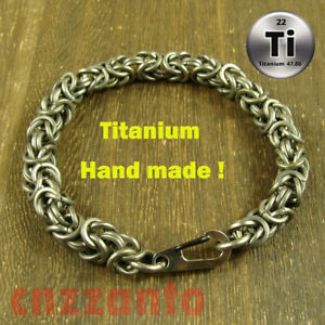 Totally Titanium Ti Handmade allergy free Bracelet Hand Chain Key snap hook H491