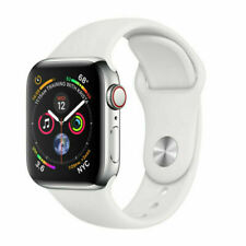 Apple Watch Series 4 44 mm Stainless Steel Case with White Sport Band (GPS + LTE