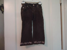 Levi's Girls Sz 4 Brown Corduroy Pants w/ Embroidered Butterflies Hemline