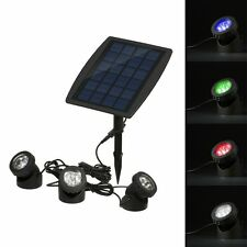 Outdoor Solar Powered 18 LED 3 RGB Lamps Spotlight Garden Pool Pond Flood Light