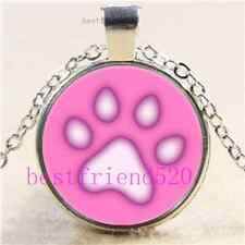 Pink Pawprint Photo Cabochon Glass Tibet Silver Chain Pendant Necklace
