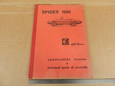 MANUALE ORIGINALE 1966 ALFA ROMEO GIULIA 1600 SPIDER OSSO DI SEPPIA