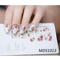 14pcs/ Sheet Flowers Nail Wraps Foils Red Rose Nail Art Full Stickers  MDS1013