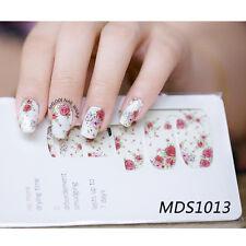 14pcs/Sheet Red Rose Flowers Nail Wraps Foils Nail Art Full Stickers