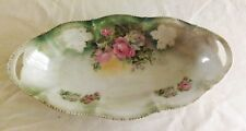 """Original Antique 12 1/4"""" Rose Decorated Celery Plate Made in Germany Excellant C"""