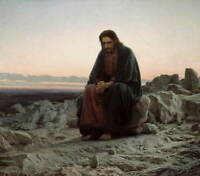 Ivan Karmskoy Christ In The Wilderness Giclee Paper Print Poster Reproduction