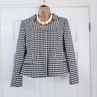 NEXT Hounds-tooth Zip Up Dogtooth Black & Ivory Smart Tailored Jacket Blazer 12
