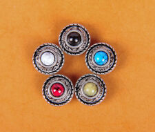 5X 12MM  5 COLORS TURQUOISE ANTIQUE SLIVER TANDY LEATHERCRAFT CONCHOS  SCREWBACK