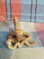 Vtg Wild Earth Studio Ceramic Pottery 2 Snakes Rattle Small Tiny Figurine