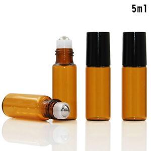 5/10ml Empty Amber Roll on Glass Bottle Essential Oil Metal Roller Ball 1-10PCS