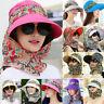Women Sun Visor Hat Neck Flap Wide Brim UV Protection Detachable Summer Cap Hot