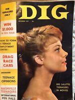 Dig Magazine Vintage Nov 1957 Christine Carere Elvis James Dean Teenagers Movies