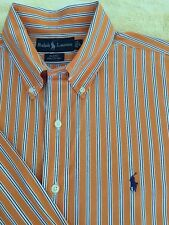 Men's Large, Orange Striped, Ralph Lauren, Button Down, Long Sleeve shirt.