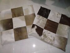 SET OF TWO COWHIDE HAIR BIG  CUSHION COVERS  27''X 28''  BROWN PRE-OWNED