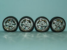 1/18 Wheels & Tyre Set Chrome Mags Low Profile Tyre Great for diorama/rebuilds