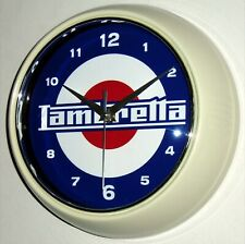 LAMBRETTA, SCOOTER, MOD THEMED RETRO DINER STYLE METAL WALL CLOCK. BOXED.