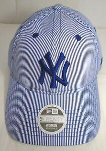 New York Yankees Women's New Era 9TWENTY Adjustable Cap Hat Blue Stipes
