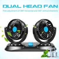 360° Oscillating Dual Head Car Mini Cooling Fan Rotatable Control 2 Speed  * *