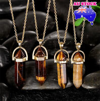 Natural Tiger EYE Crystal Healing Chakra Lucky Gemstone charm pendant necklace