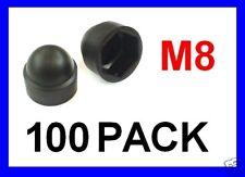 Black Plastic Nut Cover Caps .. M8 - 100 Pack