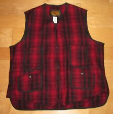Woolrich Red & Black Classic Plaid Wool Vest M