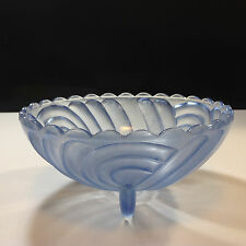 Art Deco Three Footed Blue Glass Bowl