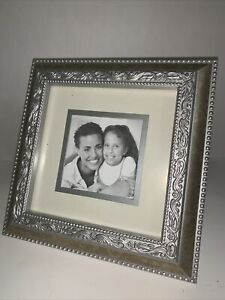 """Vintage Ornate Gold Silver Photo Frame Holds 4x4"""" Picture Fancy Freestanding"""