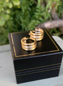 18ct Gold Small Huggie Hoop Earrings Tri Colour Solid Gold