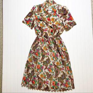 Vintage 1970s Lady Carol Chiffon Floral Secretary Full Skirt Fit Flare Dress ML