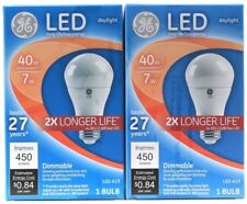 2 GE LED Long Life Low Energy Daylight 40w 450 Lumens 2X Longer Dimmable