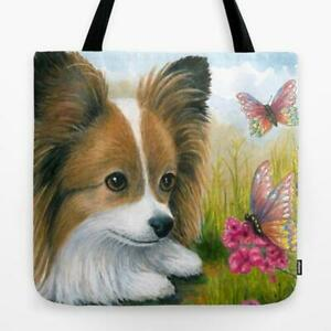 Tote Bag All over print Dog 123 Papillon art painting by L.Dumas