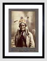 VINTAGE CHIEF GERONIMO NATIVE AMERICAN INDIAN CHIEF FRAMED PRINT B12X11810