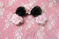 Odette- Silk pink and black pastel goth roses flower crown with silver spikes