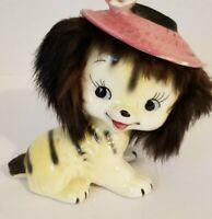 Vintage Napco Ceramic Puppy Figurine - Yellow Black Stripes Pink Hat Black Fur