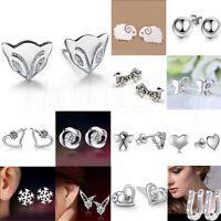 1 Pair Women 925 Silver Crystal Rhinestone Pearl Ear Stud Earrings Jewelry New