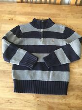 EE71 Polo Ralph Lauren Boys Age/Size 7 Navy&Grey Cotton Zip Neck Jumper